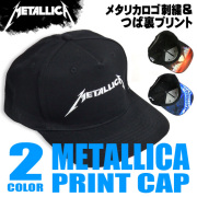 METALLICA キャップ メタリカ 帽子 ロゴ刺繍 ツバ裏プリント 黒キャップ メタリカロゴと十字架プリント CAP-037
