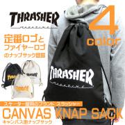 THRASHER MAGAZINE バッグ スラッシャー ナップサック 定番ロゴとフレームロゴ THRASHER-THC-100
