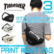 THRASHER バッグ スラッシャー ウエストバッグ ロゴプリント ウエストポーチ THRASHER-THC-200