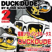 DUCK DUDE 半袖Tシャツ 福岡ソフトバンクホークス×ダックデュード コラボ ビッグアヒルフェイス プリントT TSS-224
