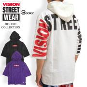 VISION STREET WEAR メンズ パーカー ヴィジョン スケボーロゴ刺繍 プルオーバーパーカー VISION-039