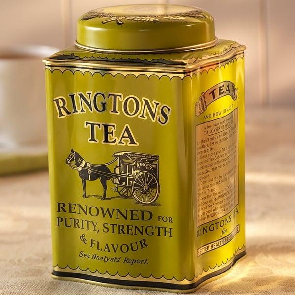 ◆1938年紅茶缶を完全復刻!Ringtons【トラディショナルキャディー + ケニアゴールド50包100杯(150g)セット】