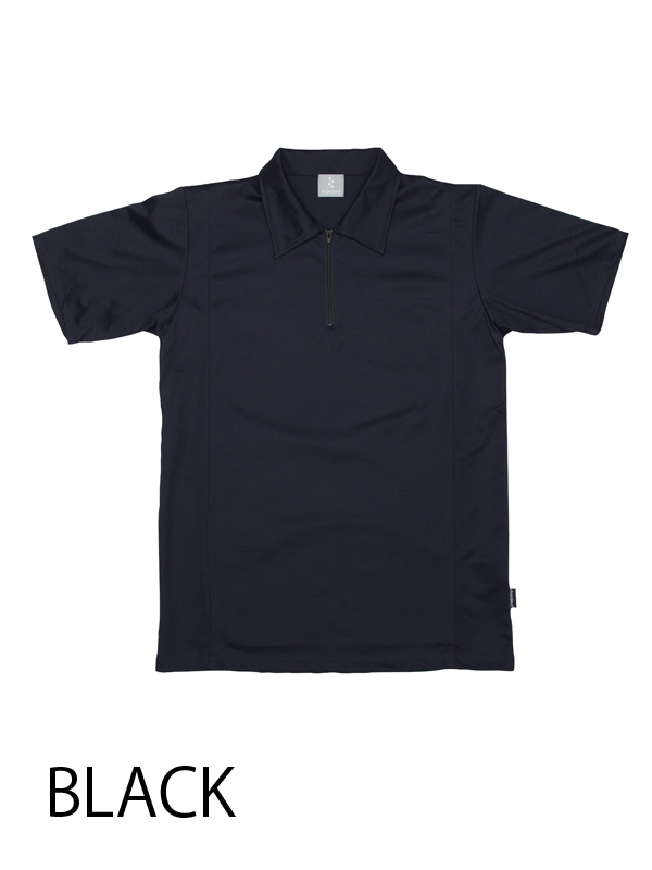 【ジップポロ コットンxライクラ】 高機能素材 ポロシャツ 吸汗速乾 背ポケット付き No.2111