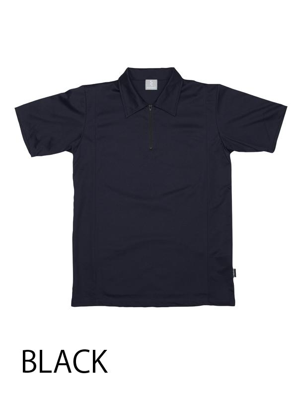 【ジップポロ コットンxライクラ】 高機能素材 ポロシャツ 吸汗速乾 背ポケット付き No.2111【送料無料】