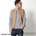 【Upscape Audience】日本製/国産スライバーニットノーカラーZIPベスト◆5005