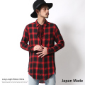 日本製/国産オンブレチェック柄ロング丈リボンシャツ◆6097