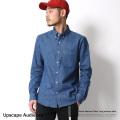 【Upscape Audience】国産/日本製綿麻デニムナローカラーボタンダウンシャツ◆6886