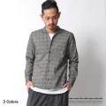 日本製/国産グレンチェック柄イタリアンカラーシャツ◆7033