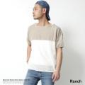 【Ranch/ランチ】日本製/国産ボートネックバイカラーワイドニット◆7095