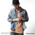 【Heritage stone】ライトオンスカットオフ7分袖デニムシャツ◆7157
