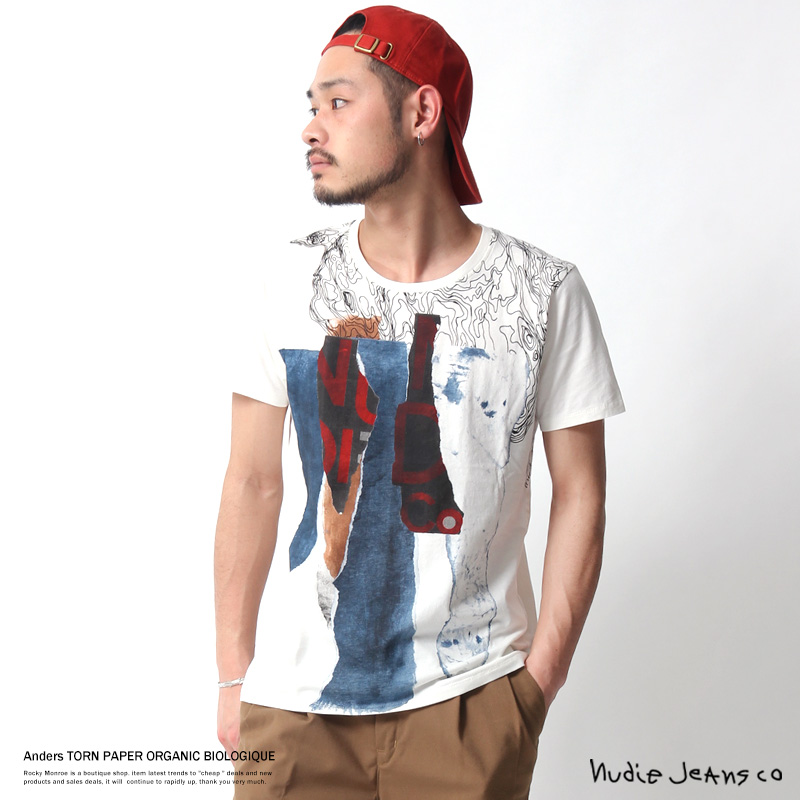 "【Nudie Jeans/ヌーディージーンズ】プリントT ""Anders"" TORN PAPER◆7027"