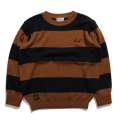 Crew neck border rib knit
