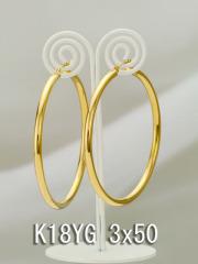 イエローゴールドフープピアス/3x50/K18YG