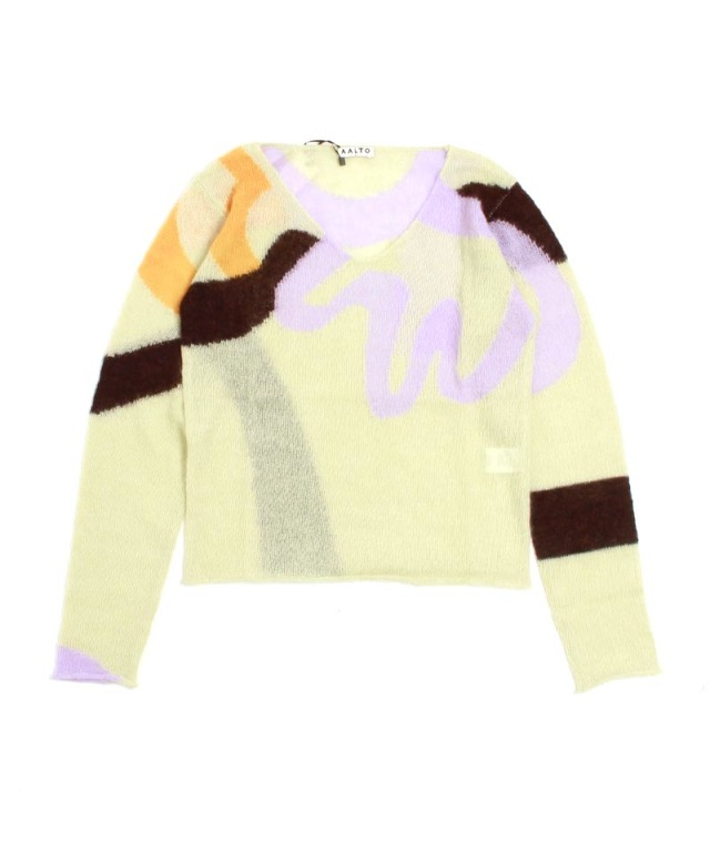 AALTO LOOSE KNITTED MULTICOLOUR INTARSIA PULLOVER