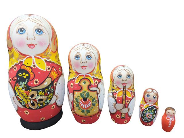 ロシア雑貨(イエロー)★コブロフstudio☆マトリョーシカ5P【ロシア雑貨のカチューシャ】