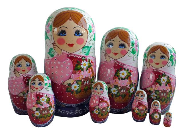猫と花かご☆マトリョーシカ9ピース☆ロシア雑貨