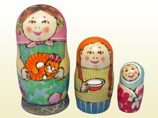 赤毛のネコ☆Tドゥビニチさんのマトリョーシカ3P★ロシア雑貨