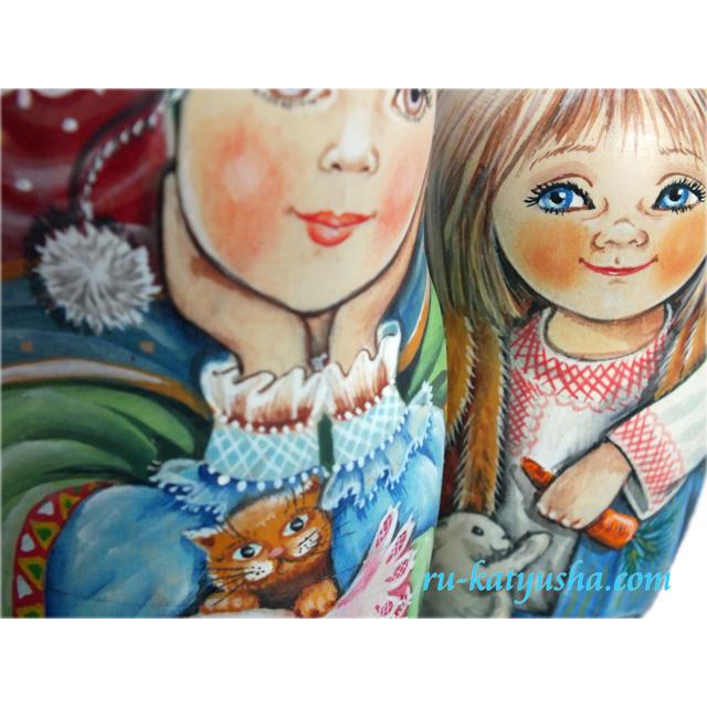 聖家族☆アーティスト★MarinaKhromova_マトリョーシカ_5ピース【ロシア雑貨のカチューシャ】