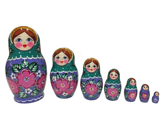 バイオレットフローラル☆ノリンスクマトリョーシカ7ピース【ロシア雑貨のカチューシャ】