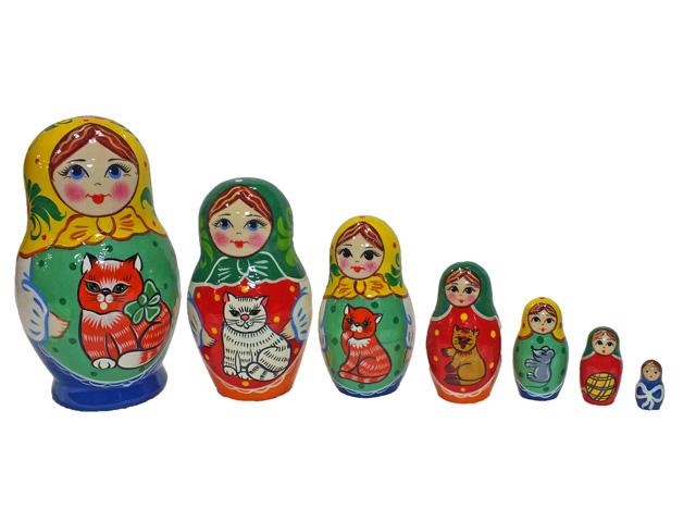 猫のいる家☆ノリンスクマトリョーシカ7ピース【ロシア雑貨のカチューシャ】