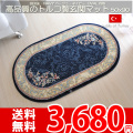 【送無】★高品質のトルコ製玄関マット円形50x90 ネイビー