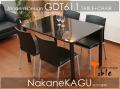 ◆シンプルモダンBLACK☆◆ガラス食卓5点セット★