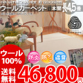 【送料無料】■AS 新毛 ウール100%アスプレイス 長4.5畳 快適 カーペット♪ベーシック 本間長4.5畳(220x382)全3色