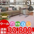 【完売】■AS 新毛 ウール100%ウールポリッシャー 3畳 快適 カーペット♪中京間3畳(182x273)全12色
