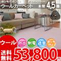 【送料無料】■AS 新毛 ウール100%ウールポリッシャー 4.5畳 快適 カーペット♪本間4.5畳(286x286)全12色