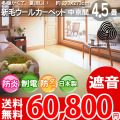 【送料無料】■AS 肌にやさしい新毛 ウール100%♪防ダニ抗菌エコ カーペット 中京間4.5畳(273x273)ニューワーゲン全6色