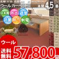 ■高級 ウール100%♪防ダニ抗菌エコ カーペット 本間4.5畳(286x286)ソフトな肌触りが魅力な絨毯●カラー全6色・日本製