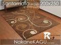 ●モダンデザインラグ●サンタマリア●ブラウン茶200x250 約3畳カーペットcarpetrug