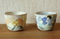 安藤喜代子 お花がいっぱい 彩フリーカップ<イエロー/ブルー> φ8.5×7cm