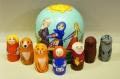 ニキーチン工房作 ロシア民話「おおきなかぶ」 球型マトリョーシカ(S) 人形7+箱1ピース/10.5cm