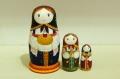 さとう あい作 ロシア民族衣装マトリョーシカ <パンと塩>3ピース /7cm