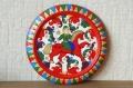 サーヴァスティナ作 木製円形飾り皿 <バロック塗り/少年と赤い馬> /φ7.8cm 【レターパックライト送付可】