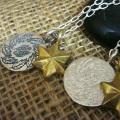 RYOKU シルバー×真鍮 2連ネックレス 葉羽 【チェーン付き】