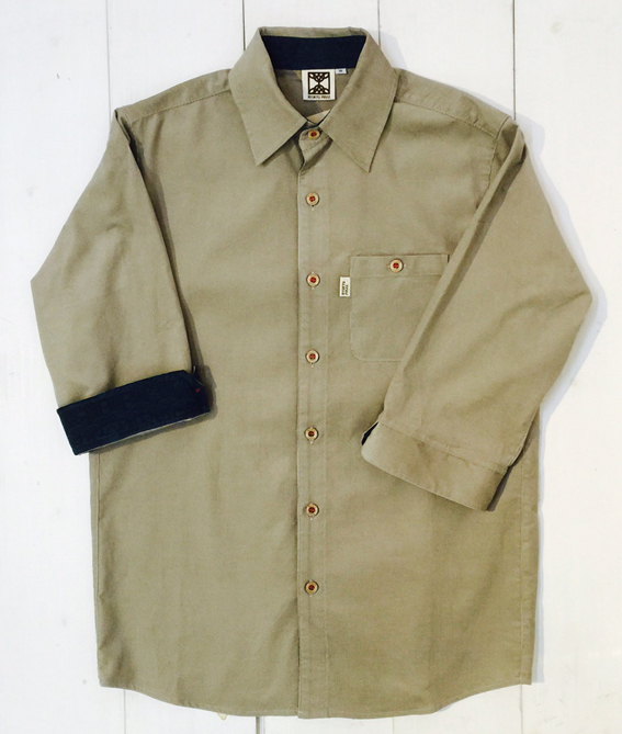 コーデュロイ7分袖シャツ