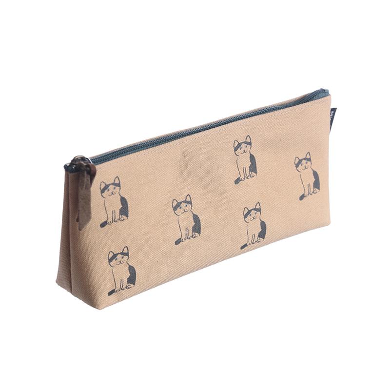 NMP-04:中島良二デザイン「ミャーゴシリーズ」綿100%国産帆布製ペンケース:ハチワレ