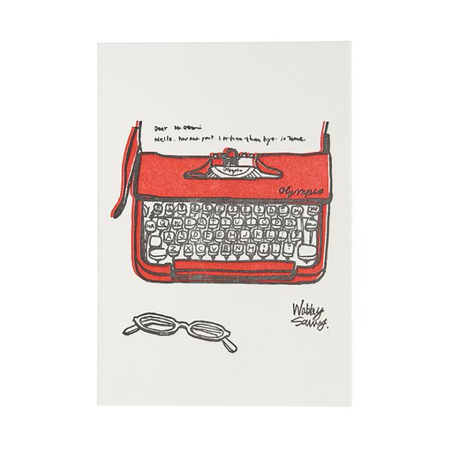 リュリュ:活版印刷イラストポストカード:タイプライター:KIP-01