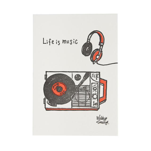 リュリュ:活版印刷イラストポストカード:レコード:KIP-04