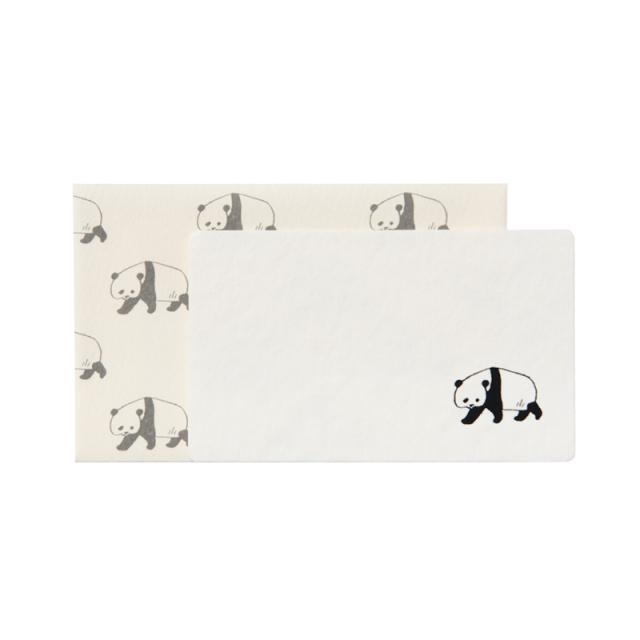 NMCS-01:ミニメッセージカード5枚+封筒5枚セット:中島良二のアニマルパレード:パンダ【クロネコDM便対応】
