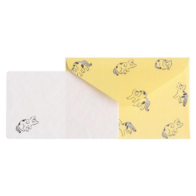 NMCS-06:中島良二デザイン「ミャーゴシリーズ」メッセージミニカード5枚+封筒5枚セット:ミケ【クロネコDM便対応】