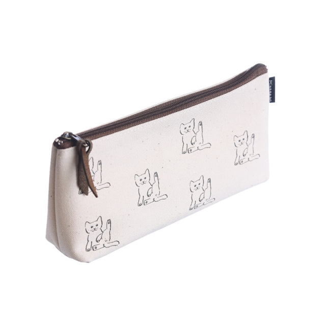 NMP-03:中島良二デザイン「ミャーゴシリーズ」綿100%国産帆布製ペンケース:シロ【送料全国一律324円】