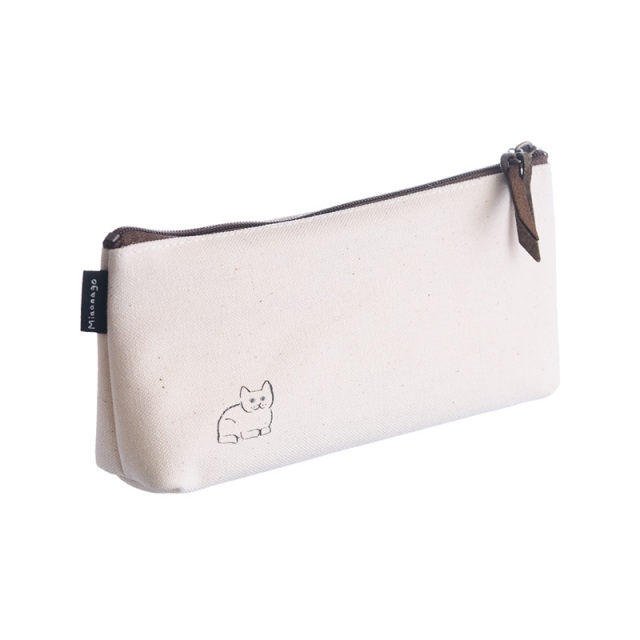 NMP-03:中島良二デザイン「ミャーゴシリーズ」綿100%国産帆布製ペンケース:シロ