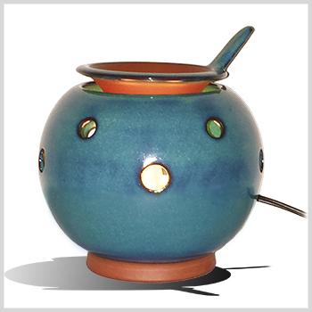 在庫限りです♪送料無料!多機能電子茶香炉【無名異文平窯青緑釉】