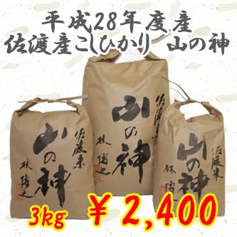 貴重なお米入荷しました!平成28年度産 佐渡産コシヒカリ 【山の神】 3kg 1万円以上で送料無料!