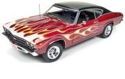 予約品 9月頃 ミニカー アメリカンマッスル American Muscle ダイキャスト 1/18 AMM1108 1969 Chevy Chevelle SS396 (Hot Rod Magazine)マルーン/ファイヤーパターン
