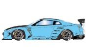 予約品 10月頃 ミニカー IDEA(イデア) レジン ハンドメイドモデル 1/18 IM003B5 Rocket Bunny R35 GT‐R ベイビーブルー(カーボンフード) / HRE S101 20in. Wheel 4573433683424