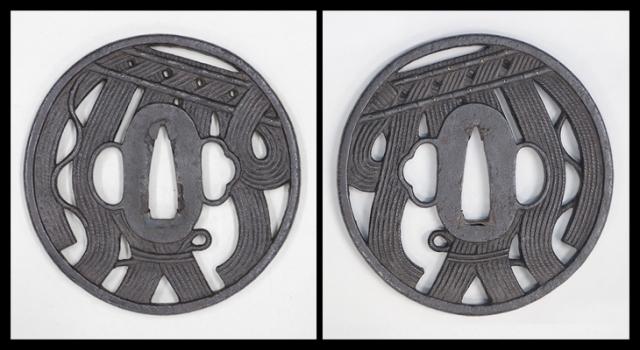 商品番号:T-053 鐔:片喰紋小透図 甲冑師として保存刀装具鑑定書付